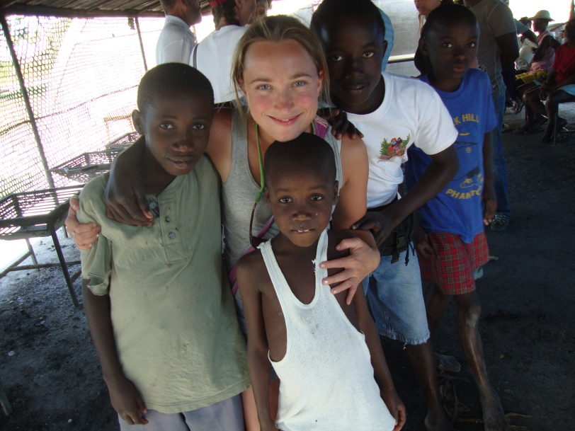 Julia and some of the children from Hope Village