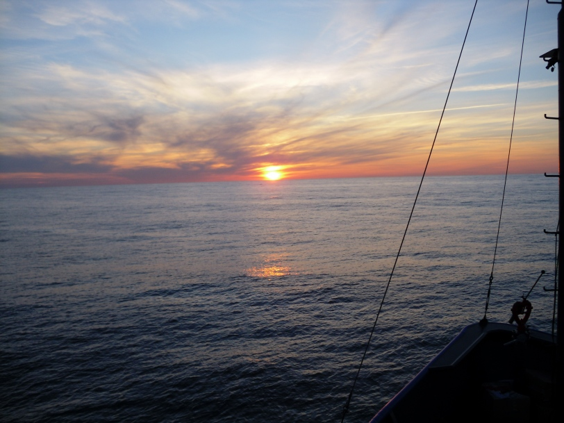 View off the bow of the Sea Hunter