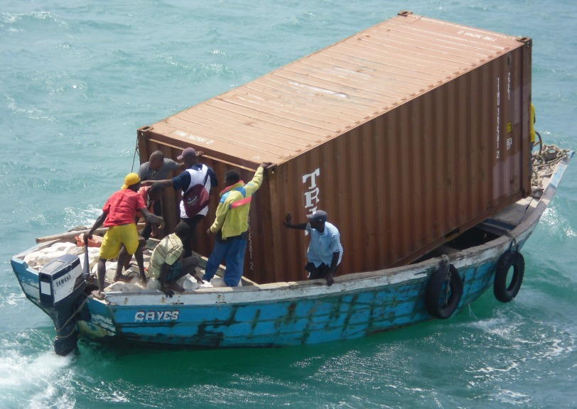 The first of ten containers to be taken ashore